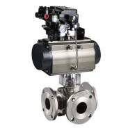 3 way flanged pneumatically actuated ball valve