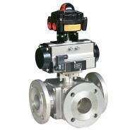 Air Actuated 3-Way Stainess Steel Ball Valve